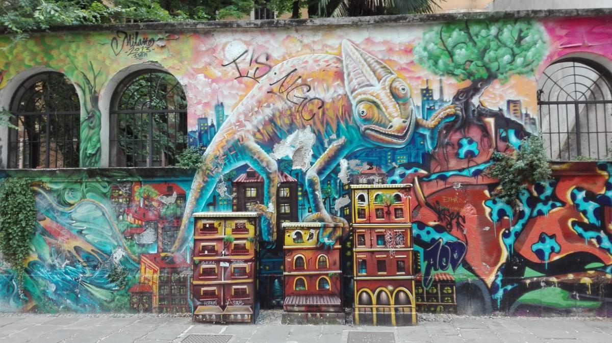 Navigli district ticinese street art in milan Italy segway tour bike rental